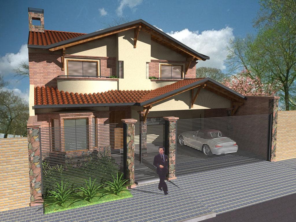 3d fachada principal proyecto 1 for Fachadas de viviendas